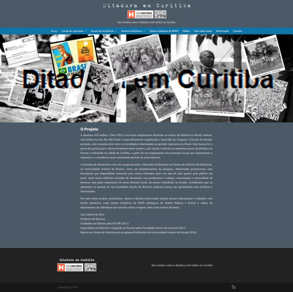 Ditadura Militar em Curitiba é tema de site desenvolvido por professor de História 1