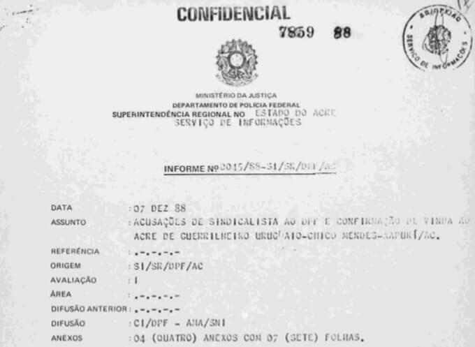 Parte de documento arrolado pelo SNI - Chico Mendes em foco. Arquivo Nacional