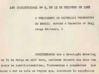 Fragmento do Ato Institucional N.5. Fonte: Arquivo Nacional.