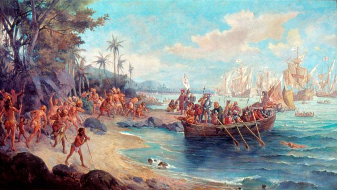 """""""Desembarque de Cabral"""" (detalhe da pintura acima) - Oscar Pereira da Silva Pintor brasileiro (1865-1959). Pero Vaz Caminha. Imagem: Museu Paulista"""