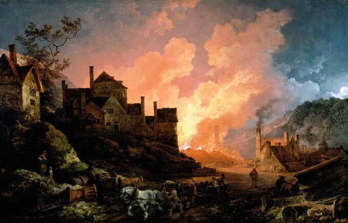 Coalbrookdale, cidade britânica considerada um dos berços da Revolução Industrial. Pintura de Philippe-Jacques de Loutherbourg.