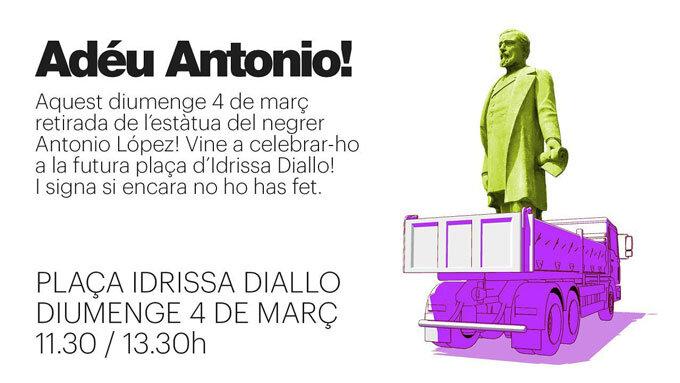 Anúncio no Twitter da retirada da estátua de Antonio López. Fonte: Twitter.