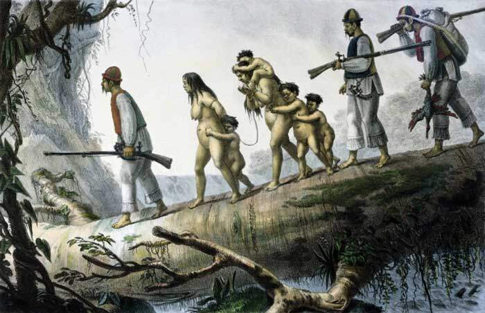 """Índios soldados da província de Curitiba escoltando prisioneiros nativos"", tela de Jean-Baptiste Debret."
