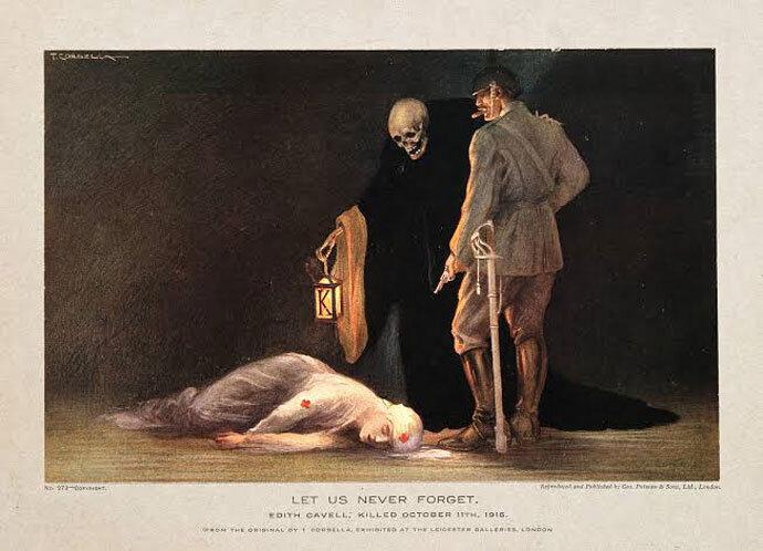 """""""Nunca nos esqueceremos"""". Fascículo associa o Kaiser alemão à morte de Edith Cavell. Foto: reprodução da internet."""