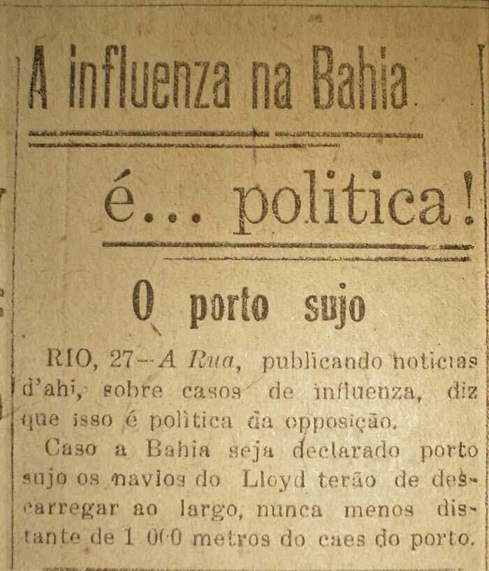 Gripe Espanhola e a questão política