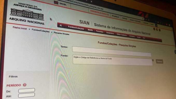 Tela do SIAN, do Arquivo Nacional.