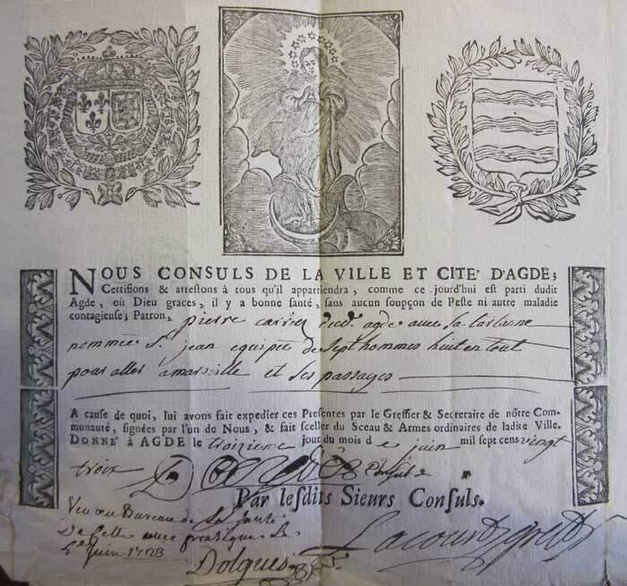 Certificado de Cura utilizado no século XVIII, na França