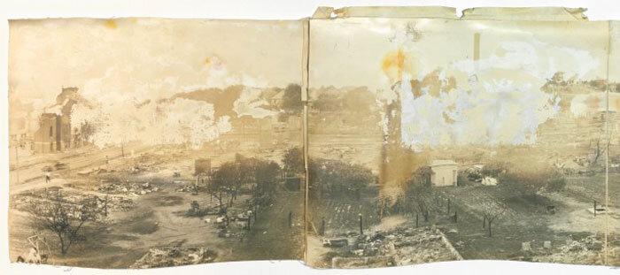 Fotografia da Cruz Vermelha se Tulsa após o massacre, 1921.