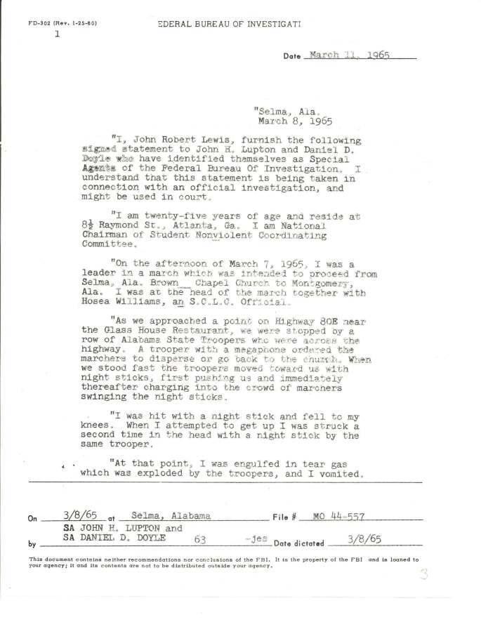"""Declaração de John Lewis sobre o """"Domingo Sangrento"""" de Selma, 8 de março de 1965. Registros do FBI, National Archives."""