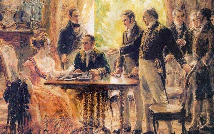 Dona Leopoldina, então Princesa Real Regente do Reino do Brasil, preside a reunião do Conselho de Ministros em 2 de setembro de 1822. Por Georgina Albuauqerque.