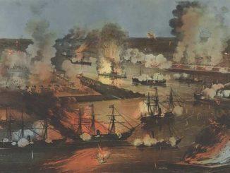 Cena de uma das batalhas da Guerra Civil Americana