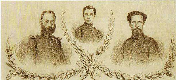 """Série de fotos de heróis de guerra no primeiro ano do conflito, publicado na """"A Semana Illustrada"""", em 20 de agosto de 1865."""
