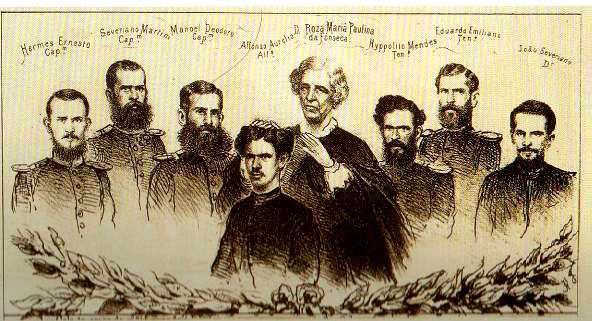 """A Matriarca dos Fonseca e seus filhos como exemplo de mãe no esforço de guerra,publicado na """"A Semana Illustrada"""" , em 20 de agosto de 1865."""